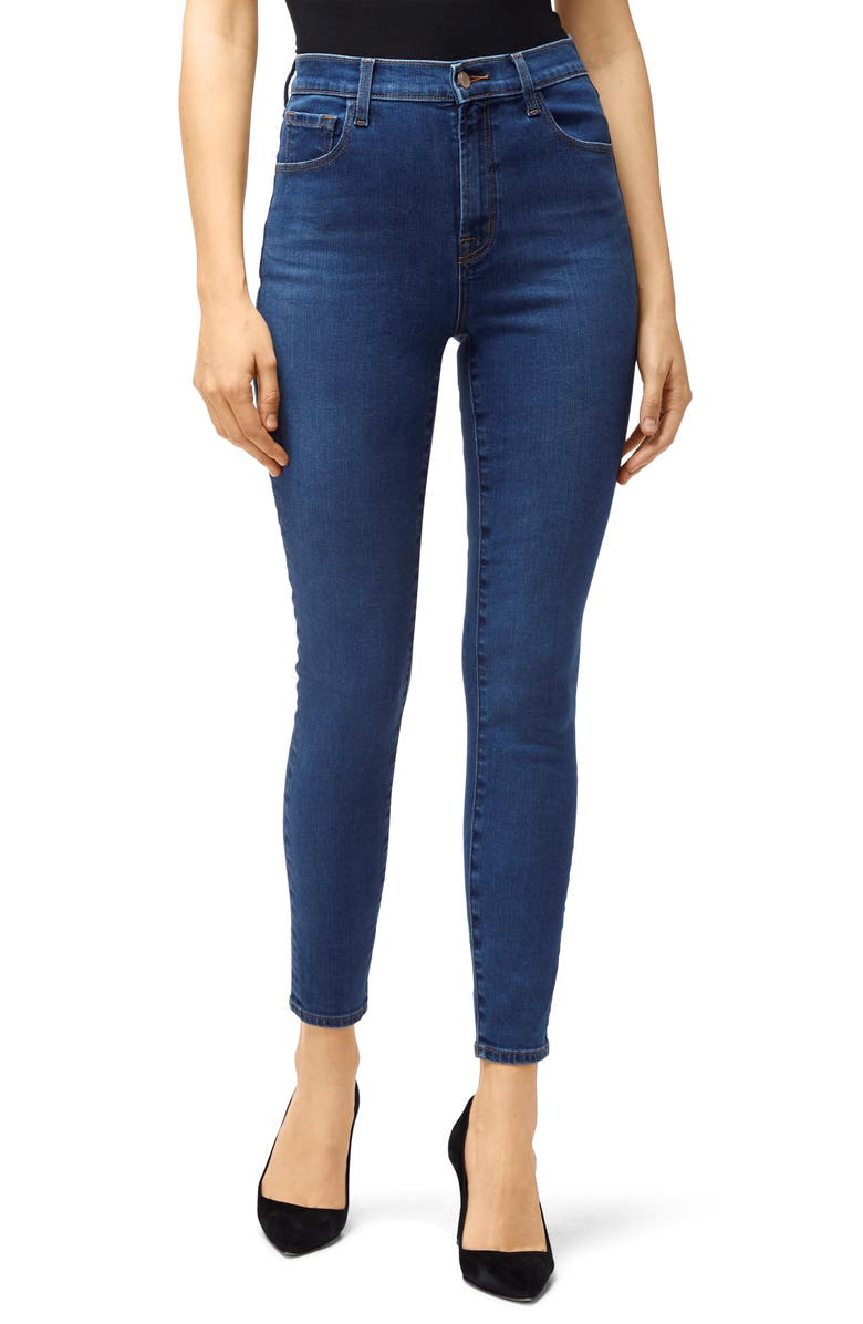 J BRAND Leenah Super High Waist Raw Ankle Skinny Jeans, Main, color, CYBER