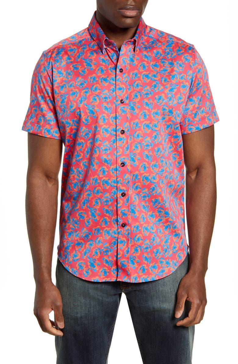 ROBERT GRAHAM Degory Regular Fit Floral Short Sleeve Button-Up Sport Shirt, Main, color, 600