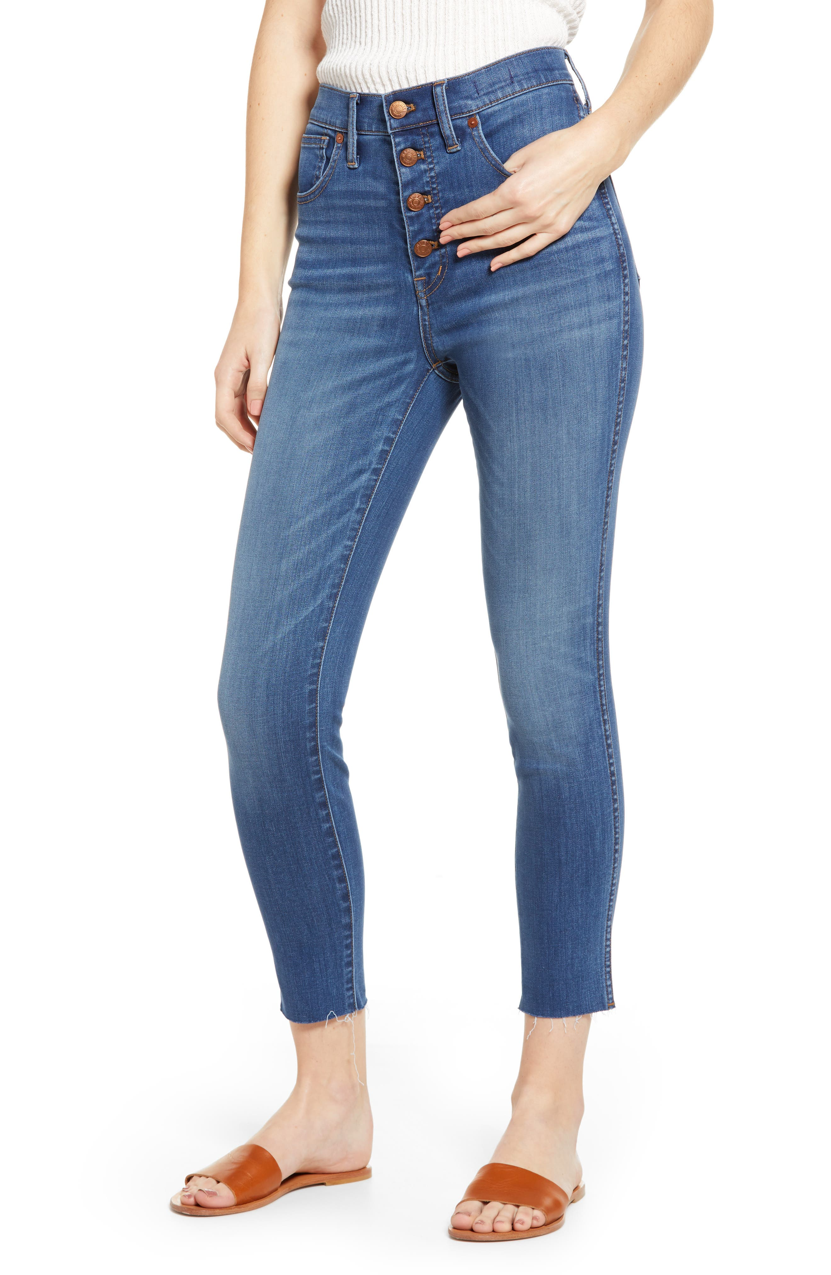 Madewell 10-Inch High Waist Button Front Crop Skinny Jeans (Hayden) (Regular & Plus Size)