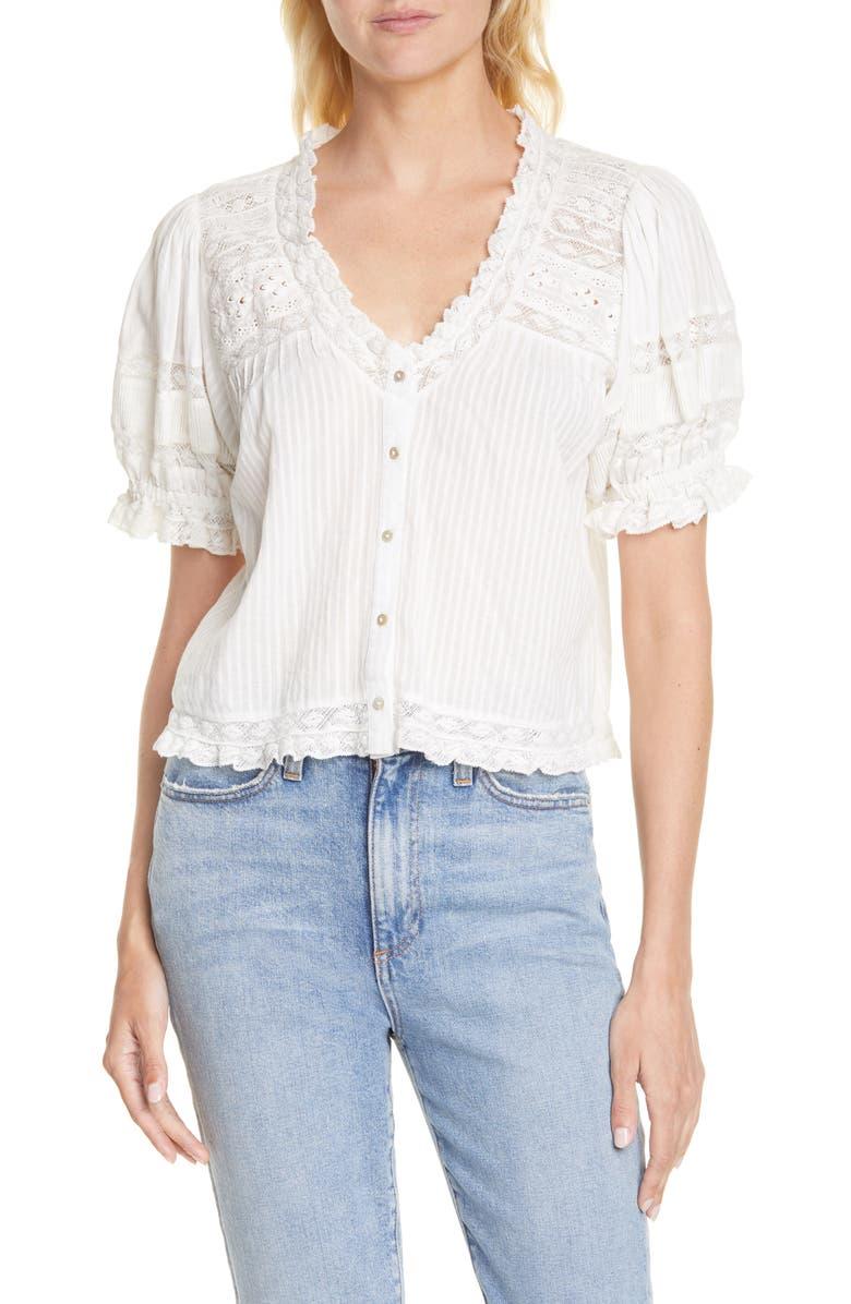LOVESHACKFANCY Arabella Cotton Top, Main, color, ANTIQUE WHITE