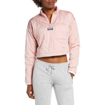 Adidas Originals Recycled Long Sleeve Crop Quarter Zip Quilted Top, Pink