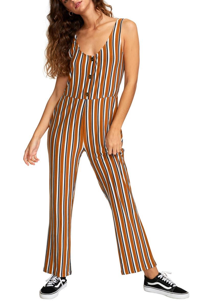 RVCA Carlton Stripe Jumpsuit, Main, color, CATHAY SPICE