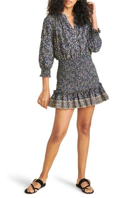 Veronica Beard Cottons KARLINA PAISLEY SMOCKED COTTON DRESS