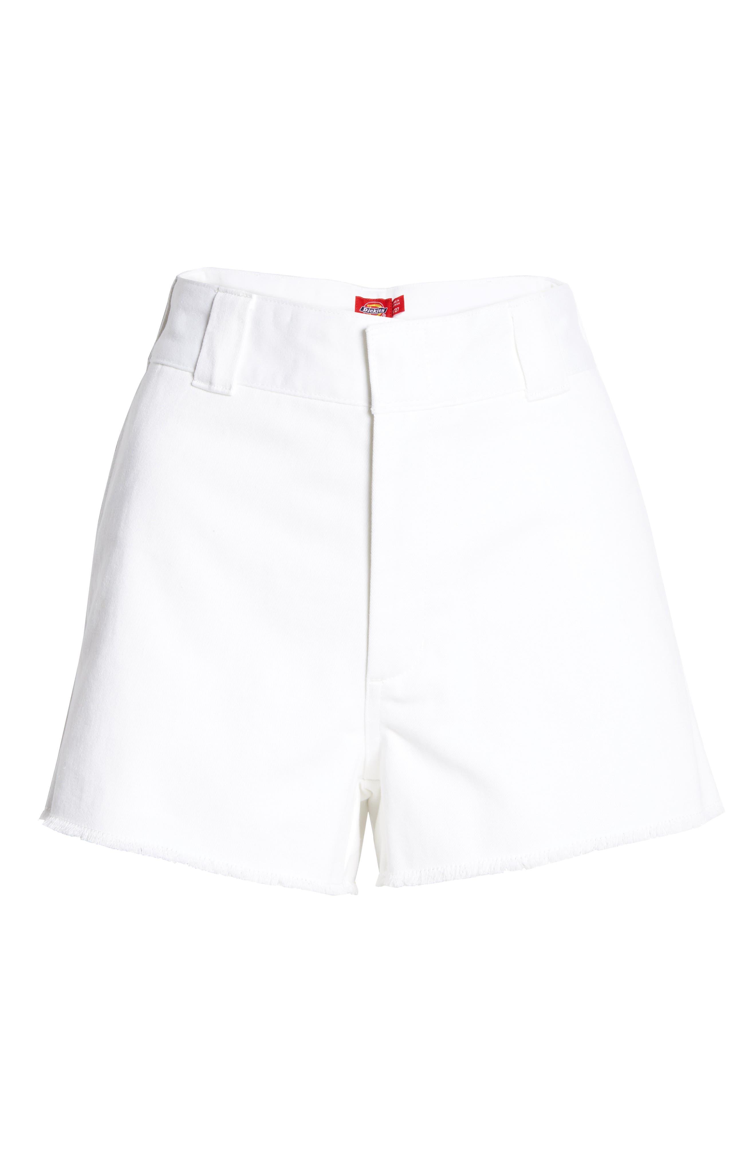 Frayed Cotton Blend Worker Shorts