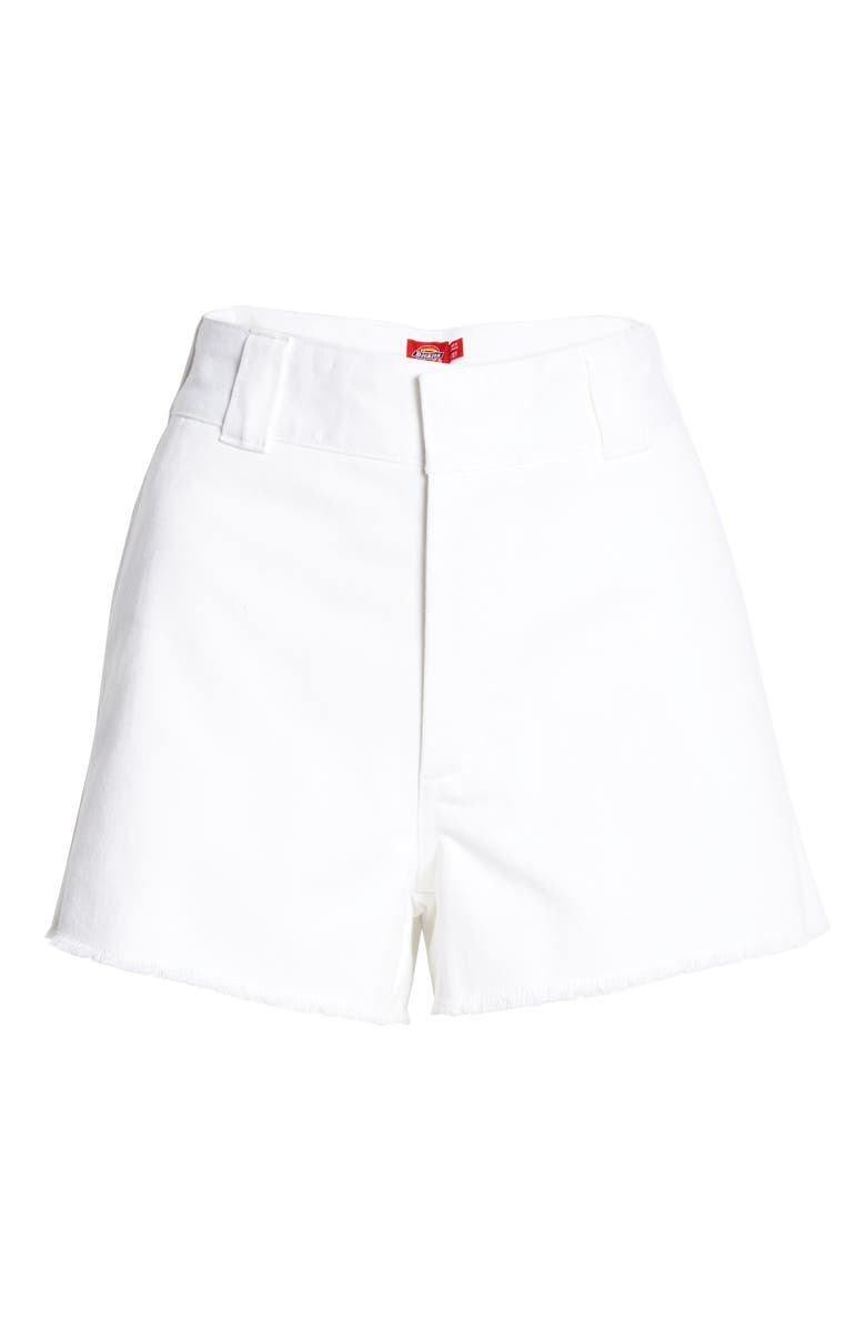 DICKIES Frayed Cotton Blend Worker Shorts, Main, color, 100