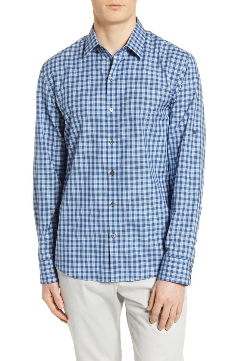 ZACHARY PRELL Plaid Button-Up Shirt, Main, color, DARK MINT