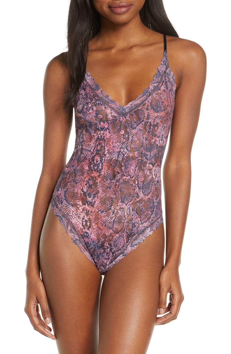 HANKY PANKY Pink Python Print Thong Bodysuit, Main, color, PINK-BLACK