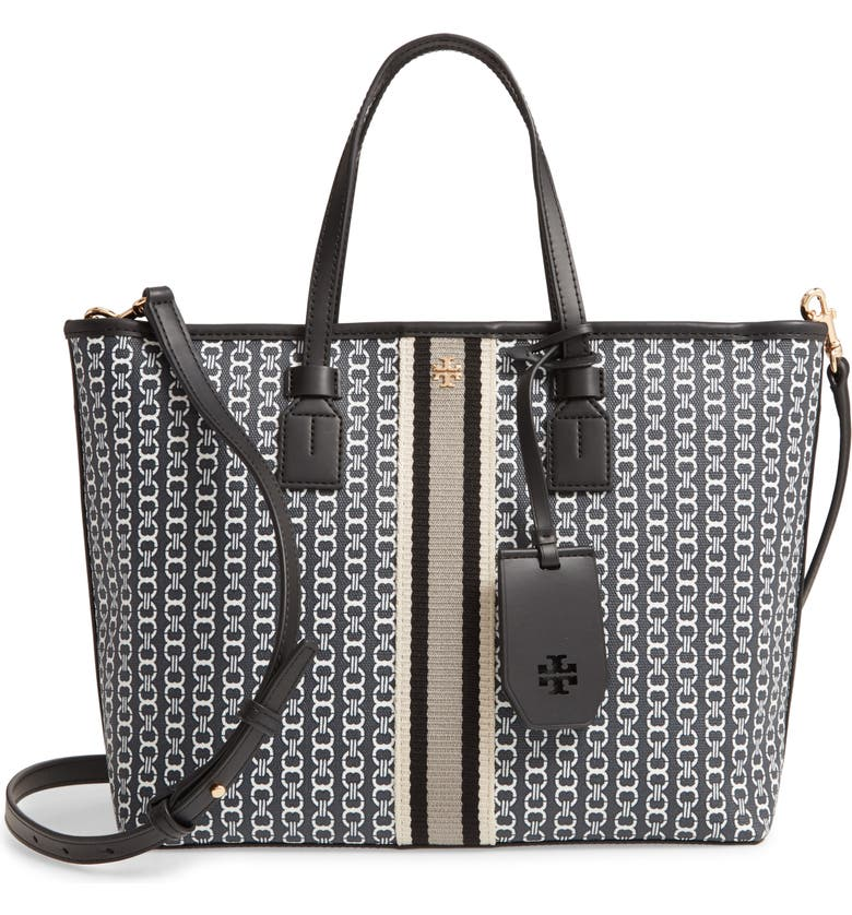 TORY BURCH Small Gemini Link Coated Canvas Tote, Main, color, 001