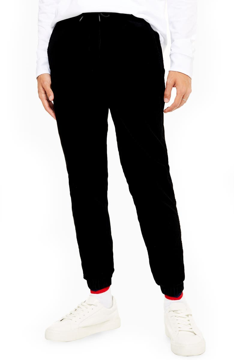 TOPMAN Corduroy Jogger Pants, Main, color, BLACK