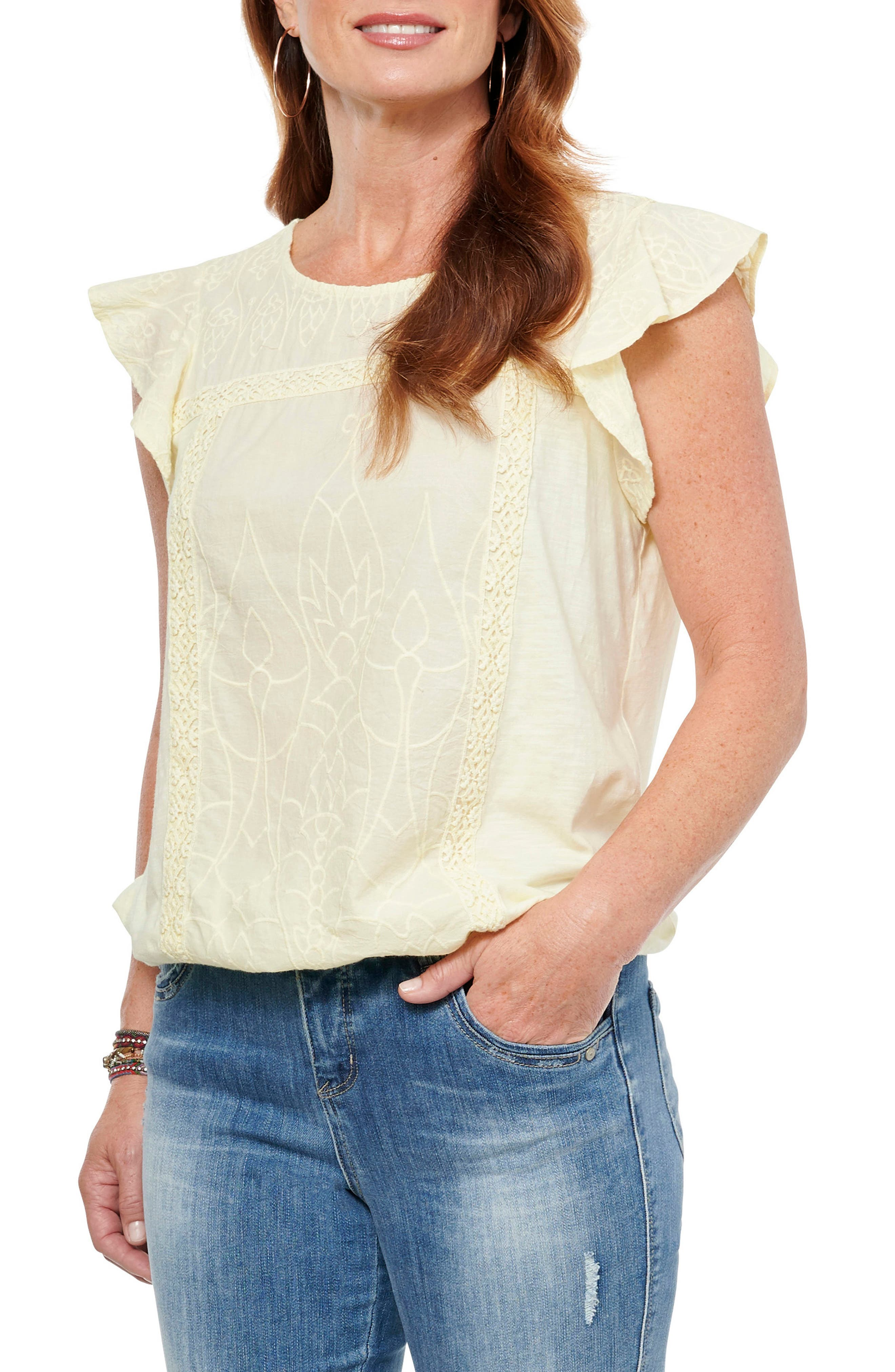 Turn on the charm in this flutter-sleeve top designed with a soft cotton-modal blend with lacy trim. Style Name: Wit & Wisdom Flutter Sleeve Blouse (Nordstrom Exclusive). Style Number: 6012659. Available in stores.
