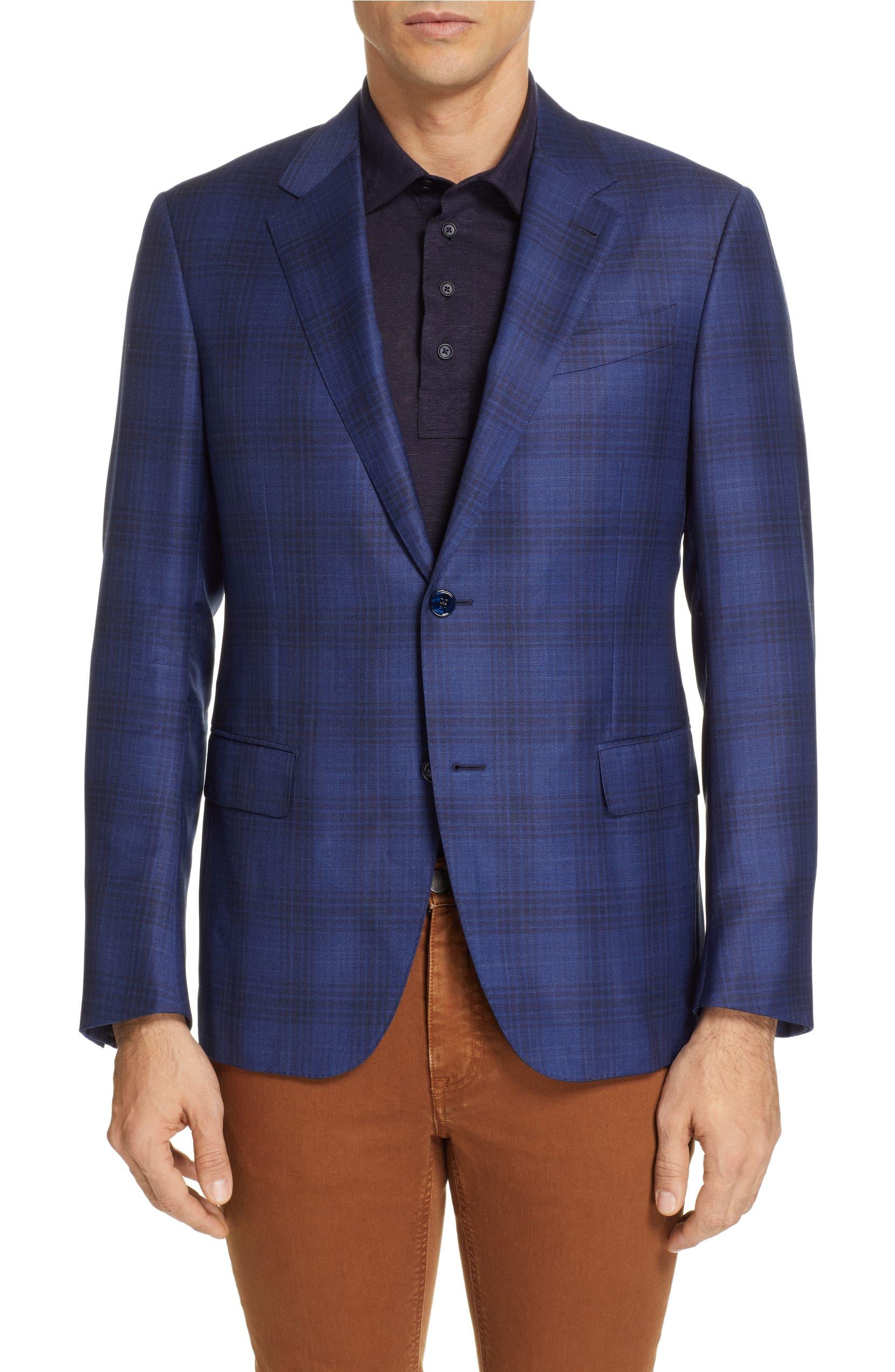 6ed5df5c Ermenegildo Zegna Achillfarm Trim Fit Plaid Wool & Silk Sport Coat ...