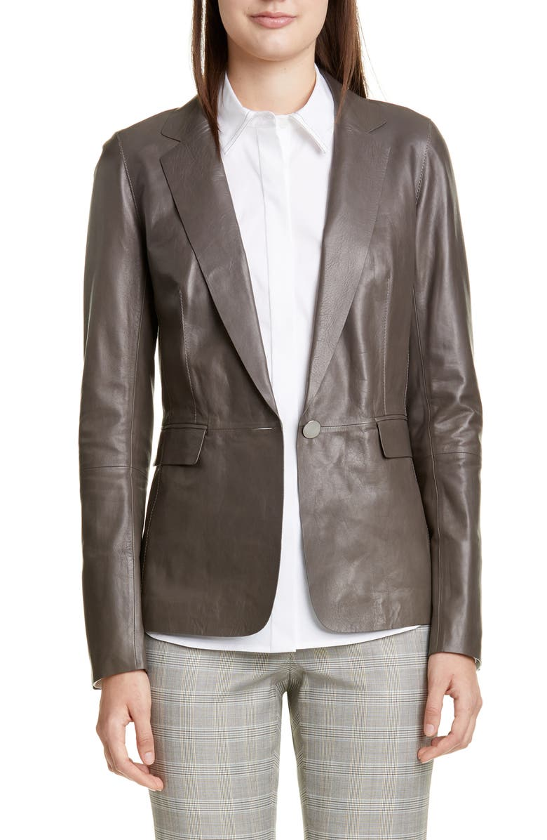 LAFAYETTE 148 NEW YORK Lyndon Leather Blazer, Main, color, 020