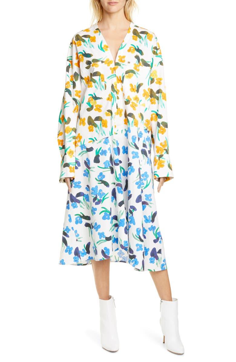 CHRISTIAN WIJNANTS Deja Long Sleeve Shirtdress, Main, color, PATCHWORK ORANGE/ BLUE