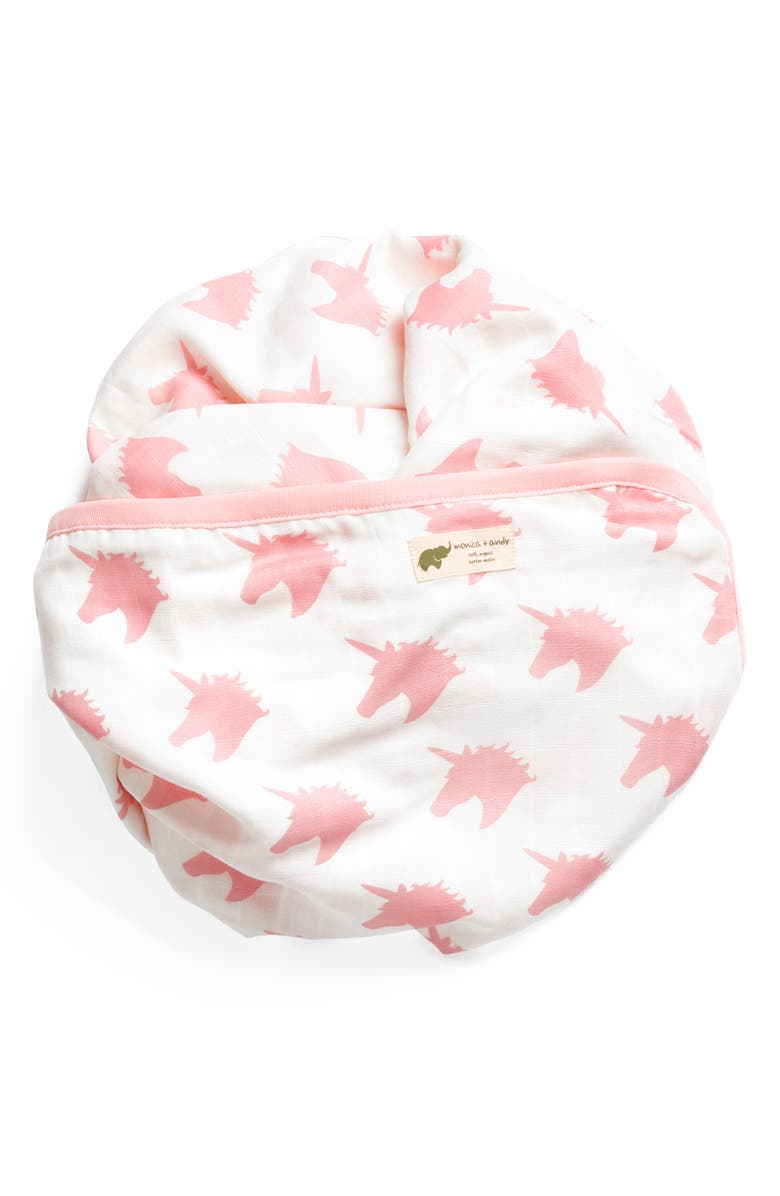 MONICA + ANDY Believe in Unicorns Organic Cotton Always Blanket, Main, color, 653