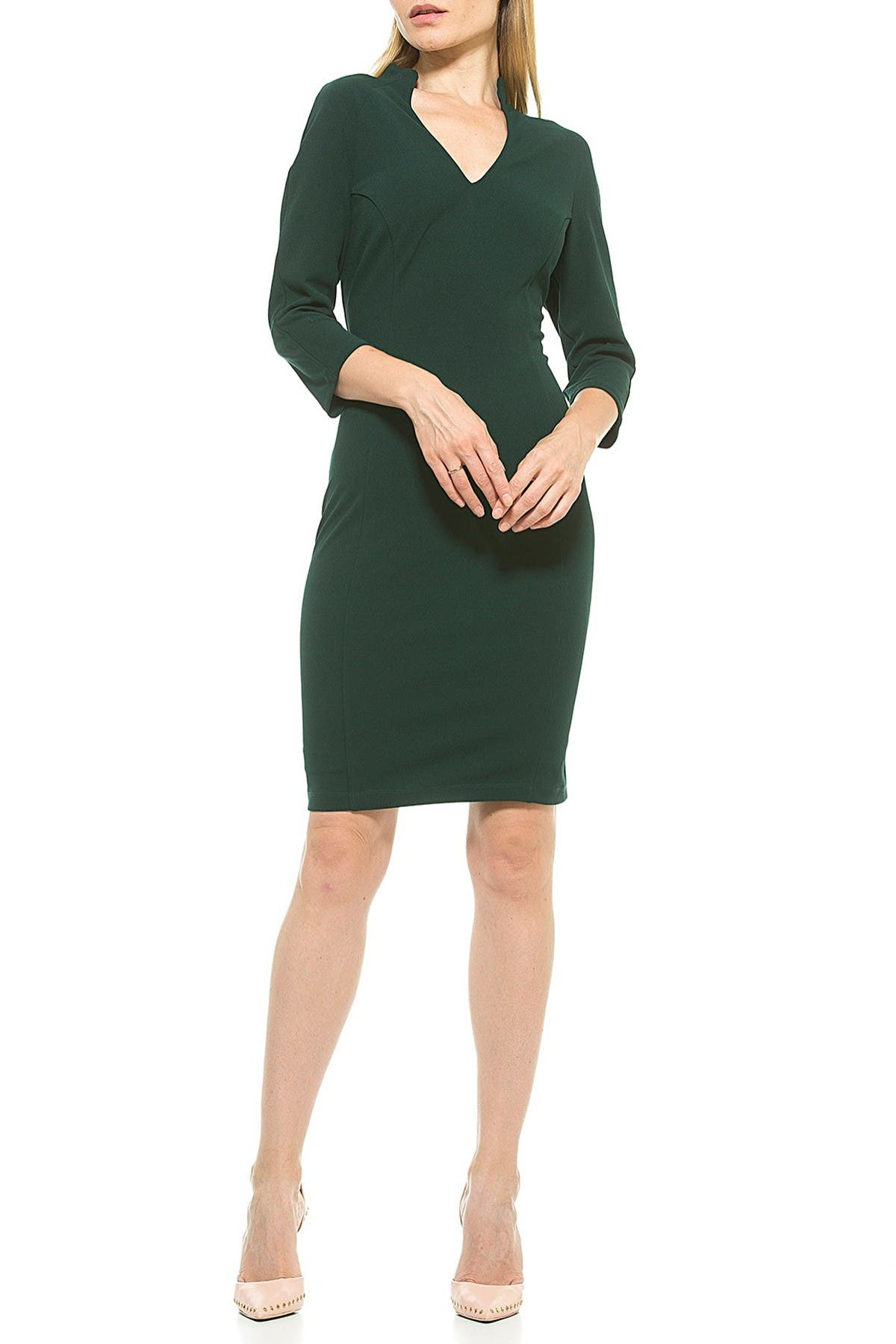 Image of Alexia Admor Aria Fitted V-Neck Sheath Dress