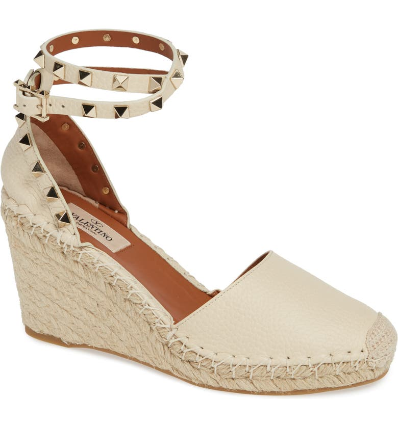 d6d7879671 Valentino Rockstud Espadrille Wedge, Main, color, LIGHT IVORY