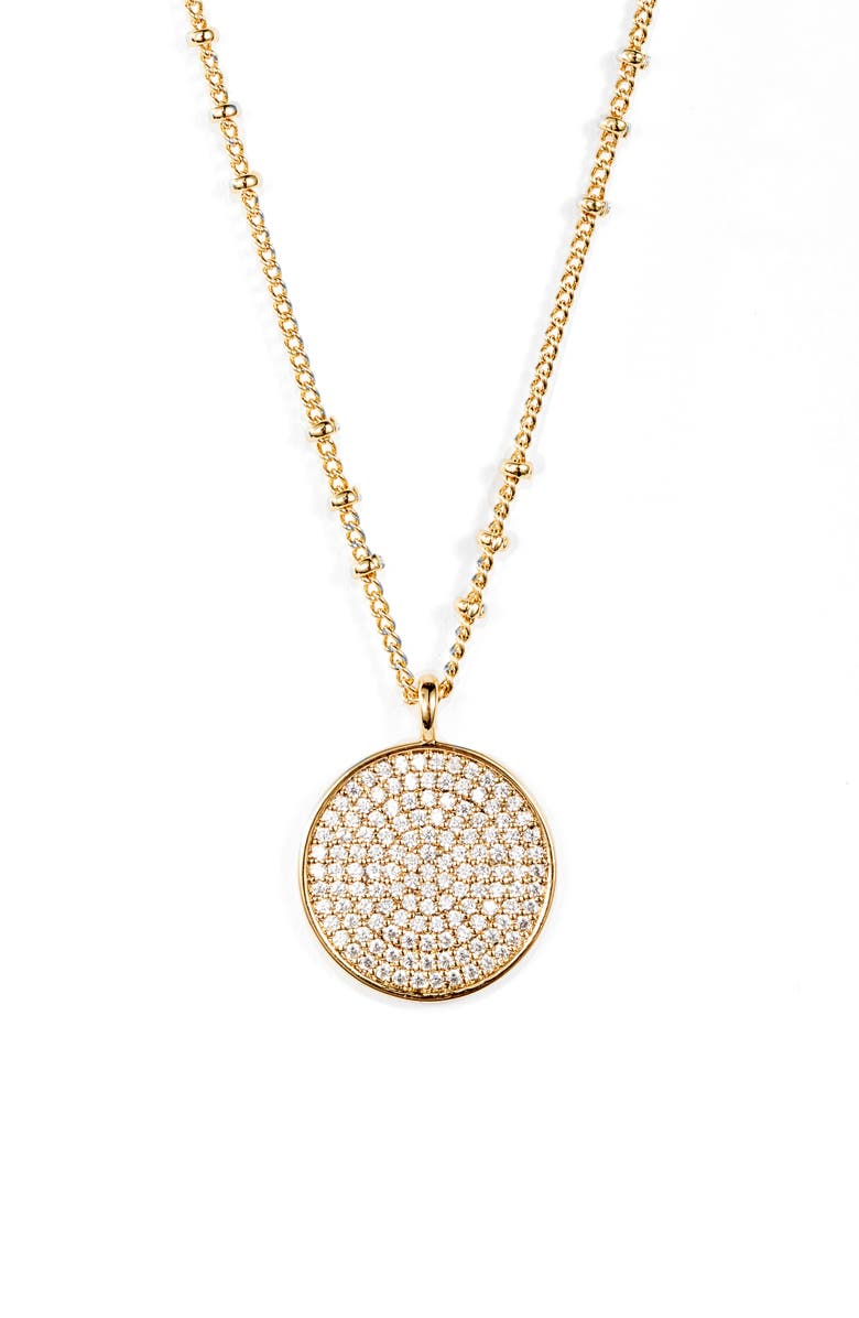 GORJANA Pristine Cubic Zirconia Disc Pendant Necklace, Main, color, WHITE/ GOLD