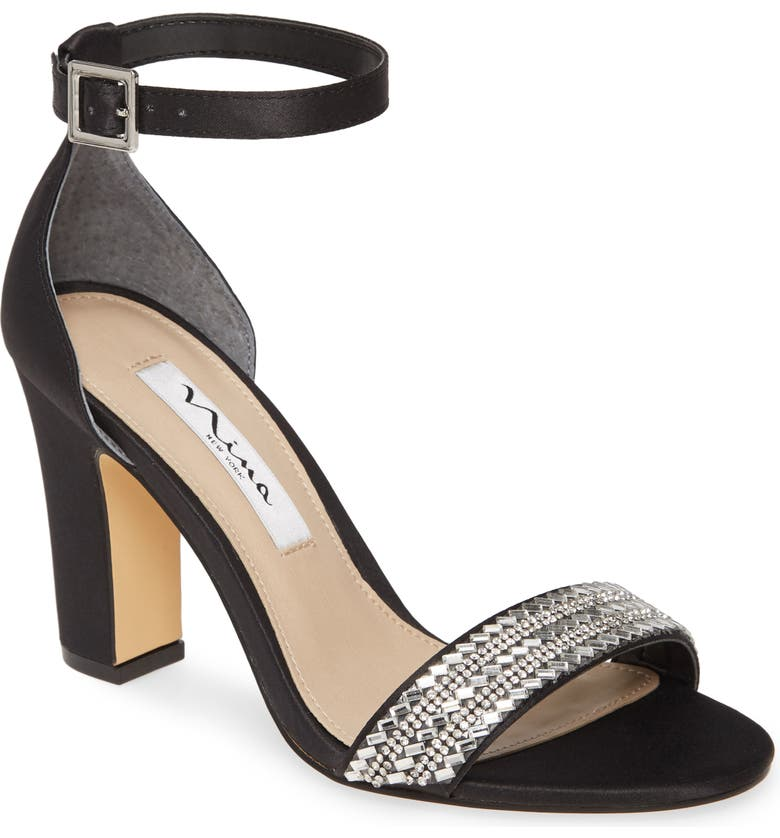 NINA Suzette Ankle Strap Sandal, Main, color, BLACK SATIN