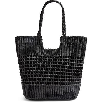 Topshop Rio Braided Handle Woven Tote - Black