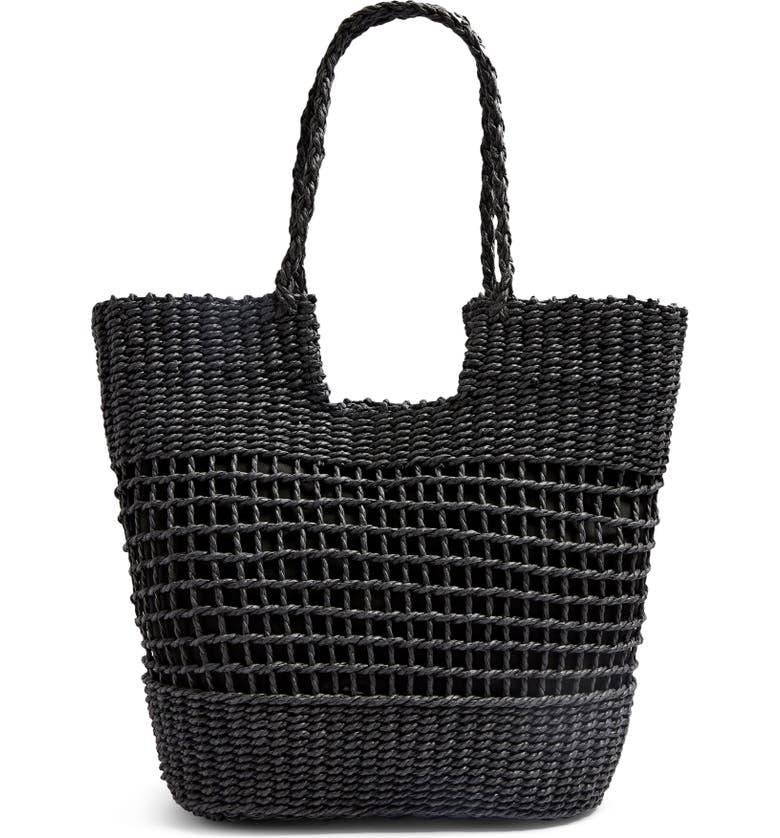TOPSHOP Rio Braided Handle Woven Tote, Main, color, 001