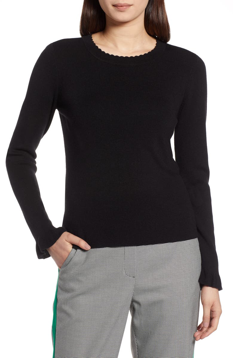 HALOGEN<SUP>®</SUP> Scallop Trim Sweater, Main, color, 001