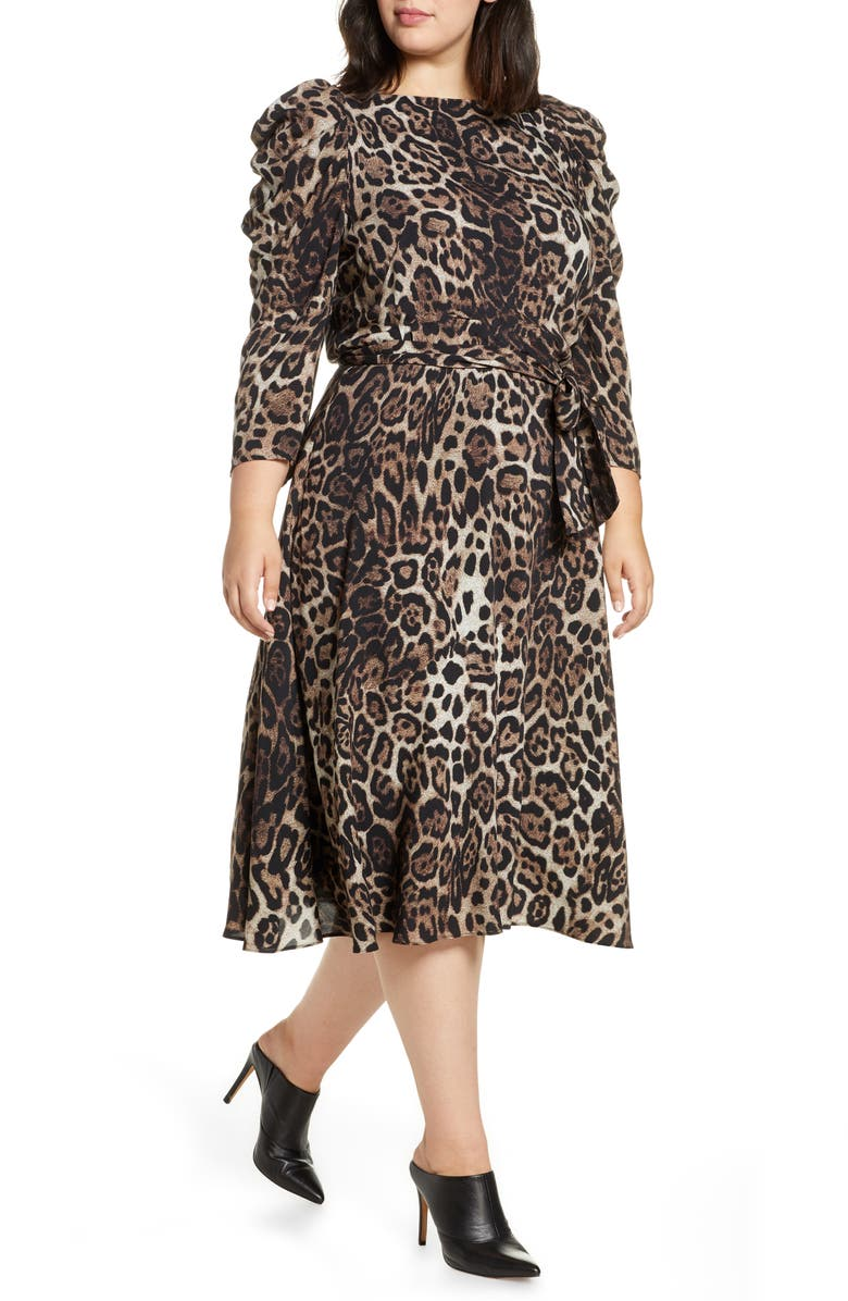 Eliza J Leopard Print Midi Dress Plus Size