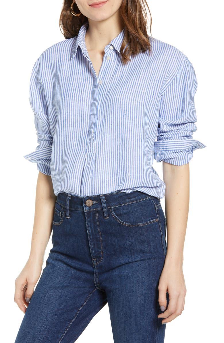 TREASURE & BOND Stripe Button Front Linen Tunic, Main, color, 420