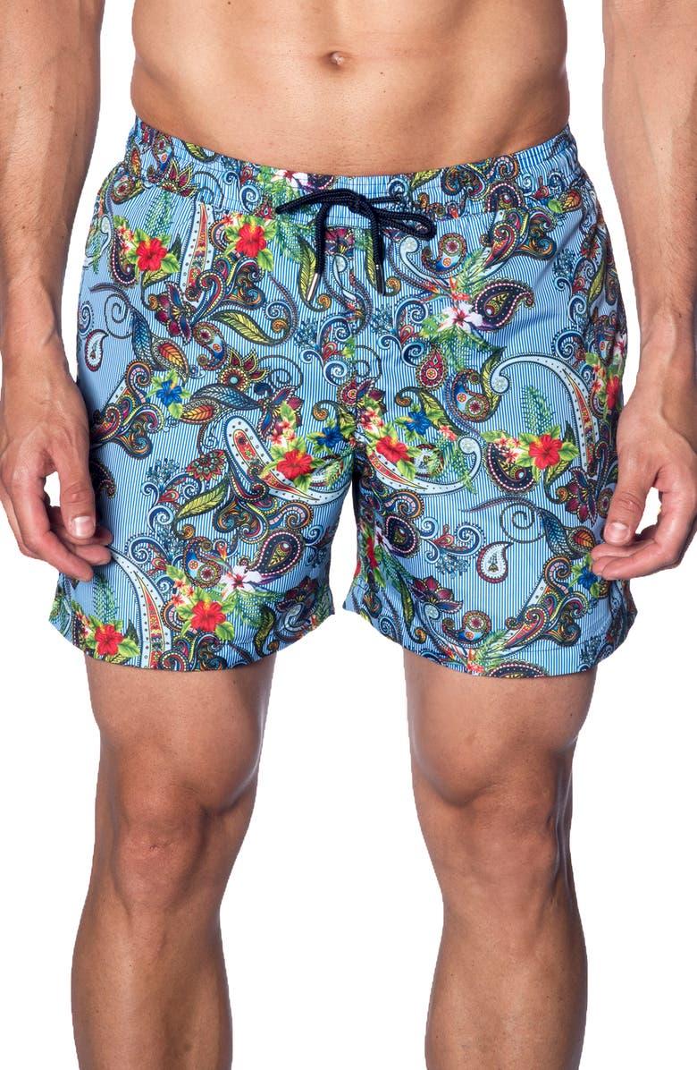 JARED LANG Swim Trunks, Main, color, BLUE PAISLEY