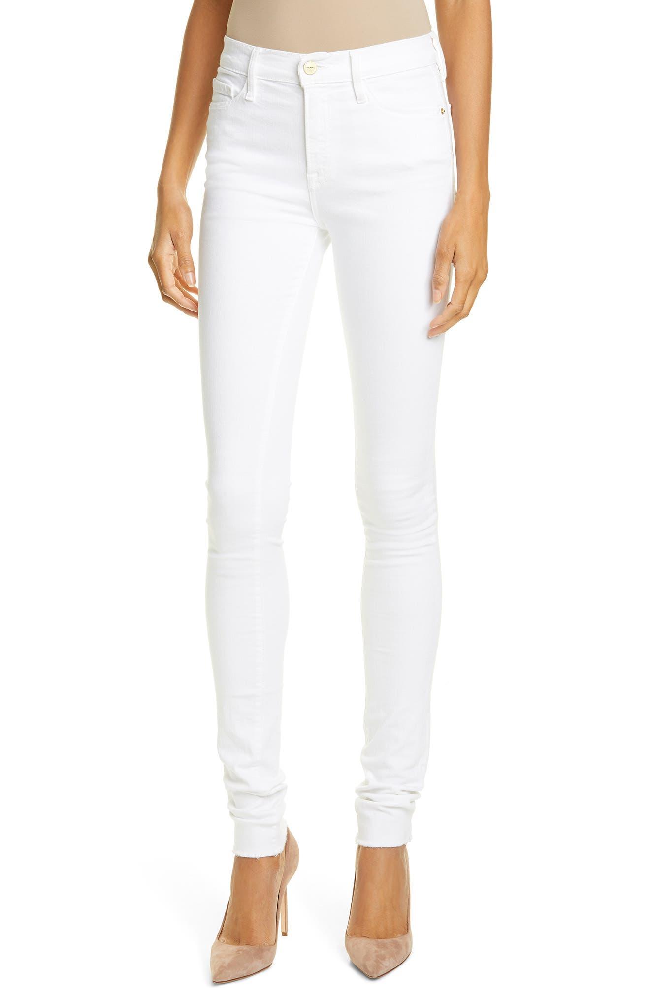 Women's Frame Forever Karlie Raw Hem Skinny Jeans,  31Tall - White