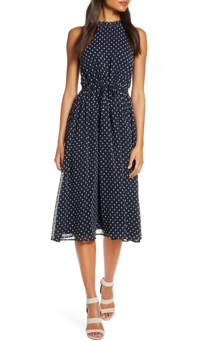 MAGGY LONDON Sleeveless Polka Dot Tie Waist Midi Dress, Main, color, 498