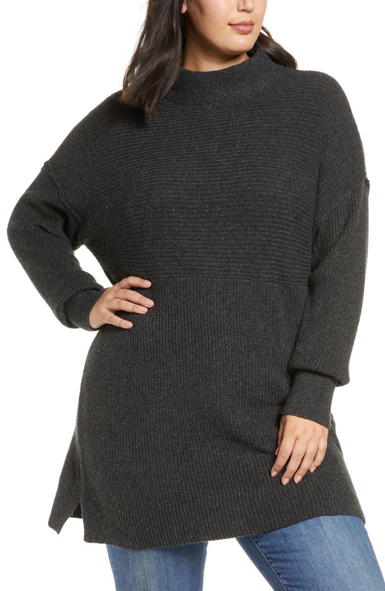 CASLON<SUP>®</SUP> Mix Rib Cotton Blend Tunic Sweater, Main, color, 021