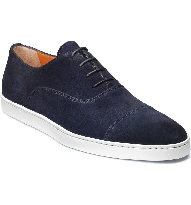 SANTONI 'Durbin' Oxford Sneaker, Main, color, NAVY SUEDE