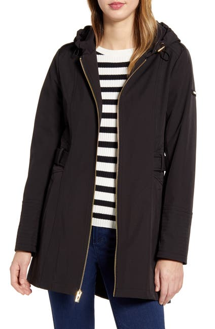 Image of Via Spiga Gallery Half-Belt Hooded Soft-Shell Jacket