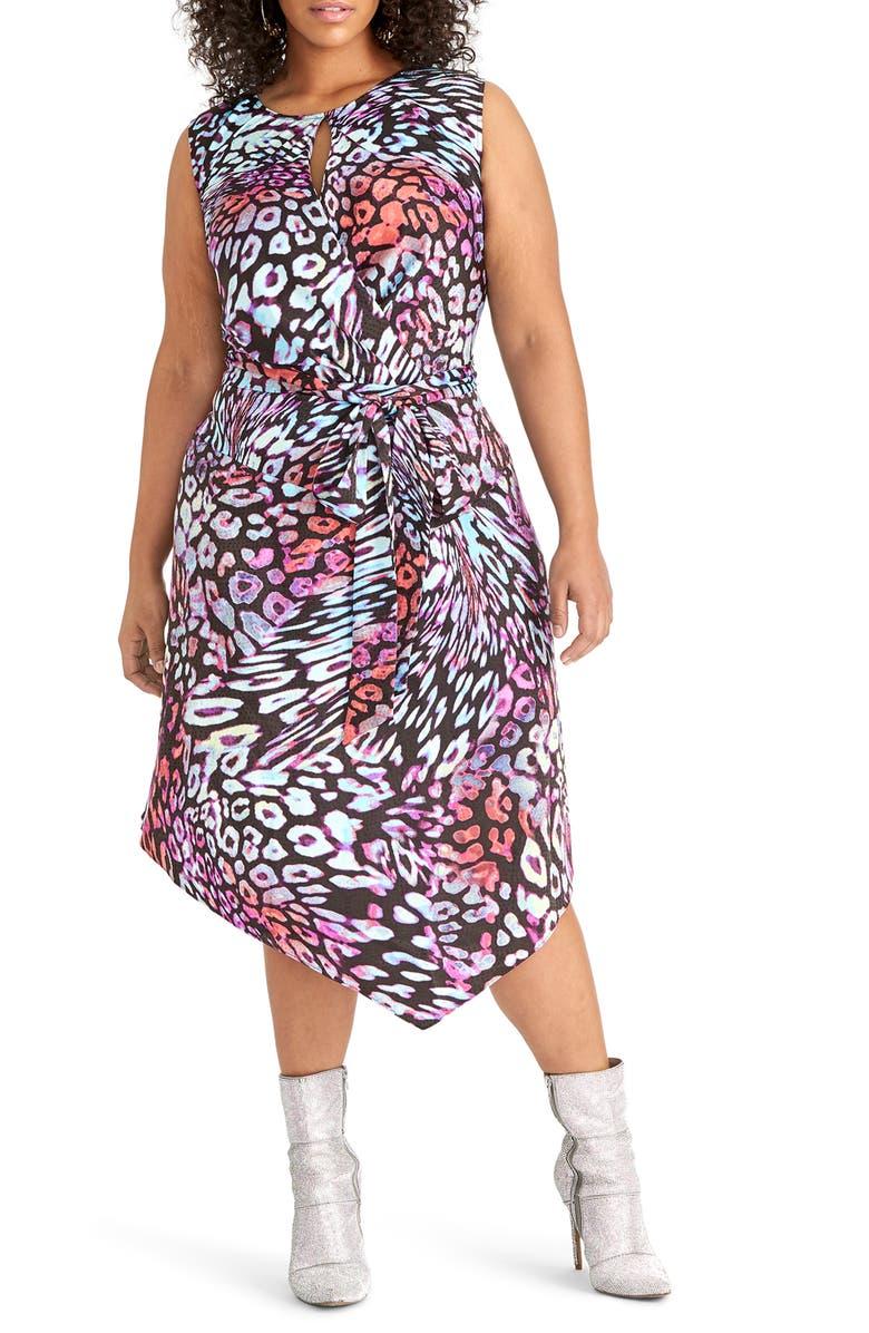 RACHEL RACHEL ROY Hani Asymmetrical Dress, Main, color, BLACK COMBO
