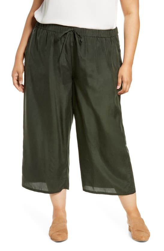 Eileen Fisher CROP SILK WIDE LEG PANTS