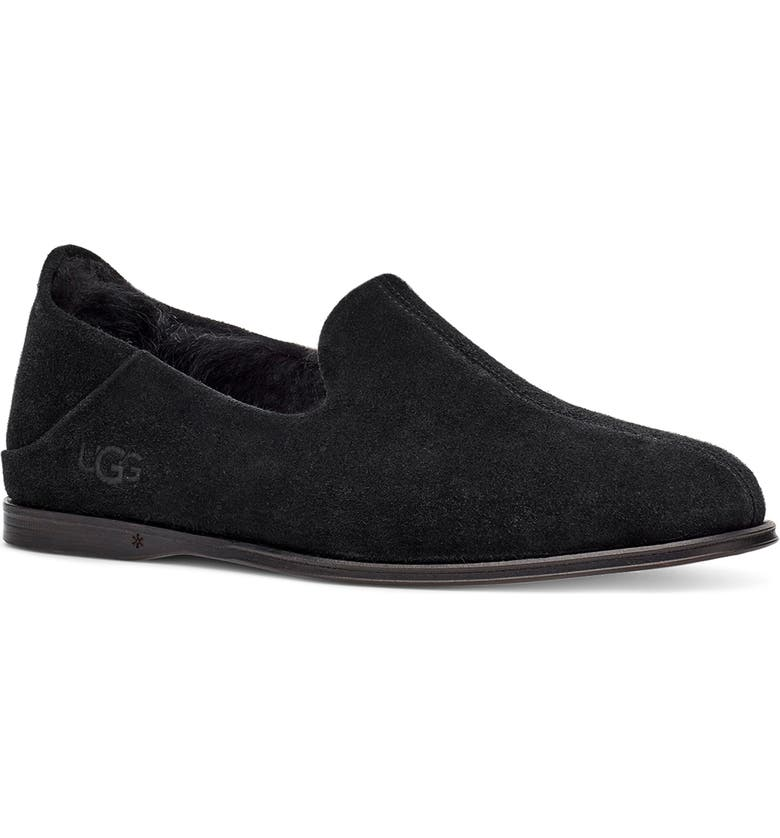 UGG<SUP>®</SUP> Chateau Slipper, Main, color, BLACK SUEDE