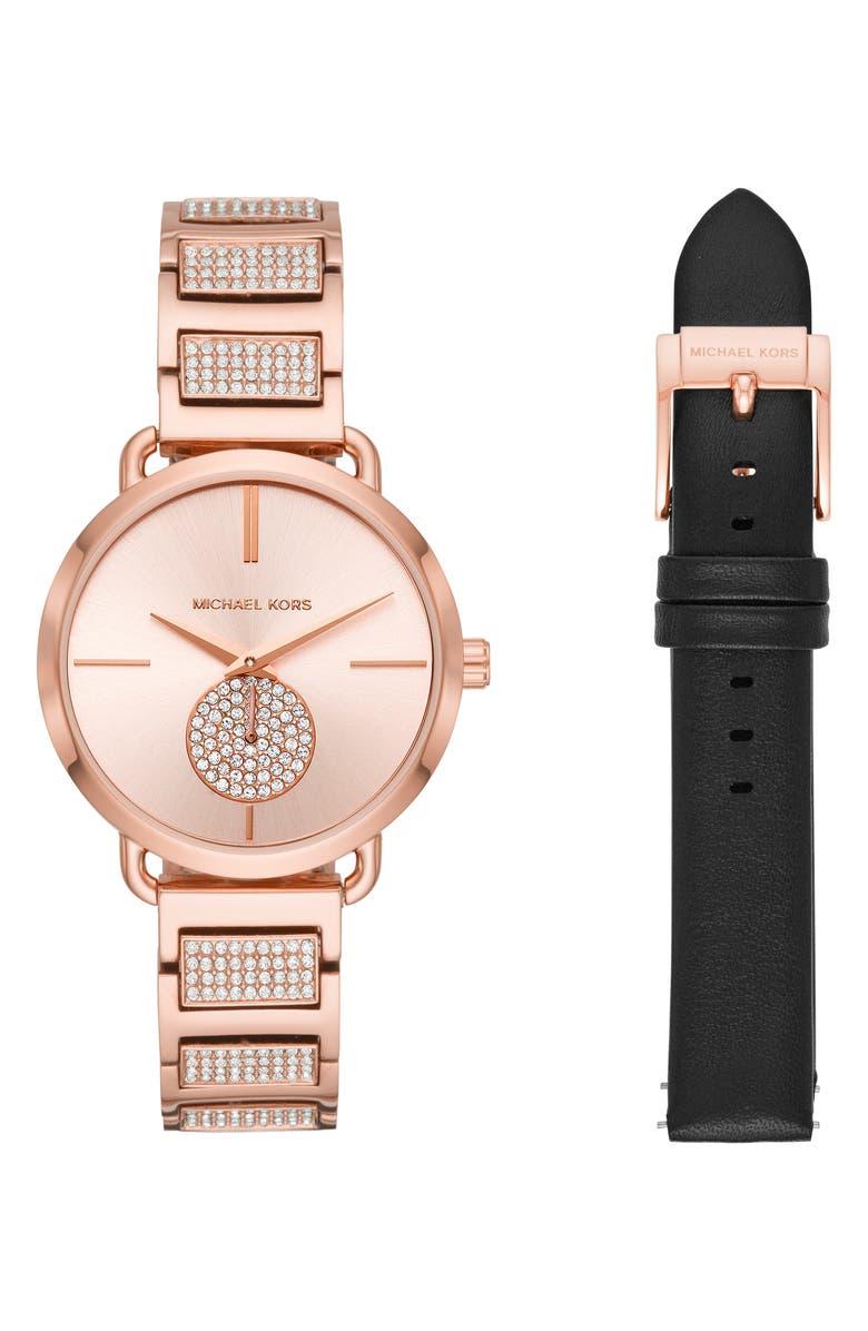 MICHAEL KORS Portia Watch Set, 36mm, Main, color, 710