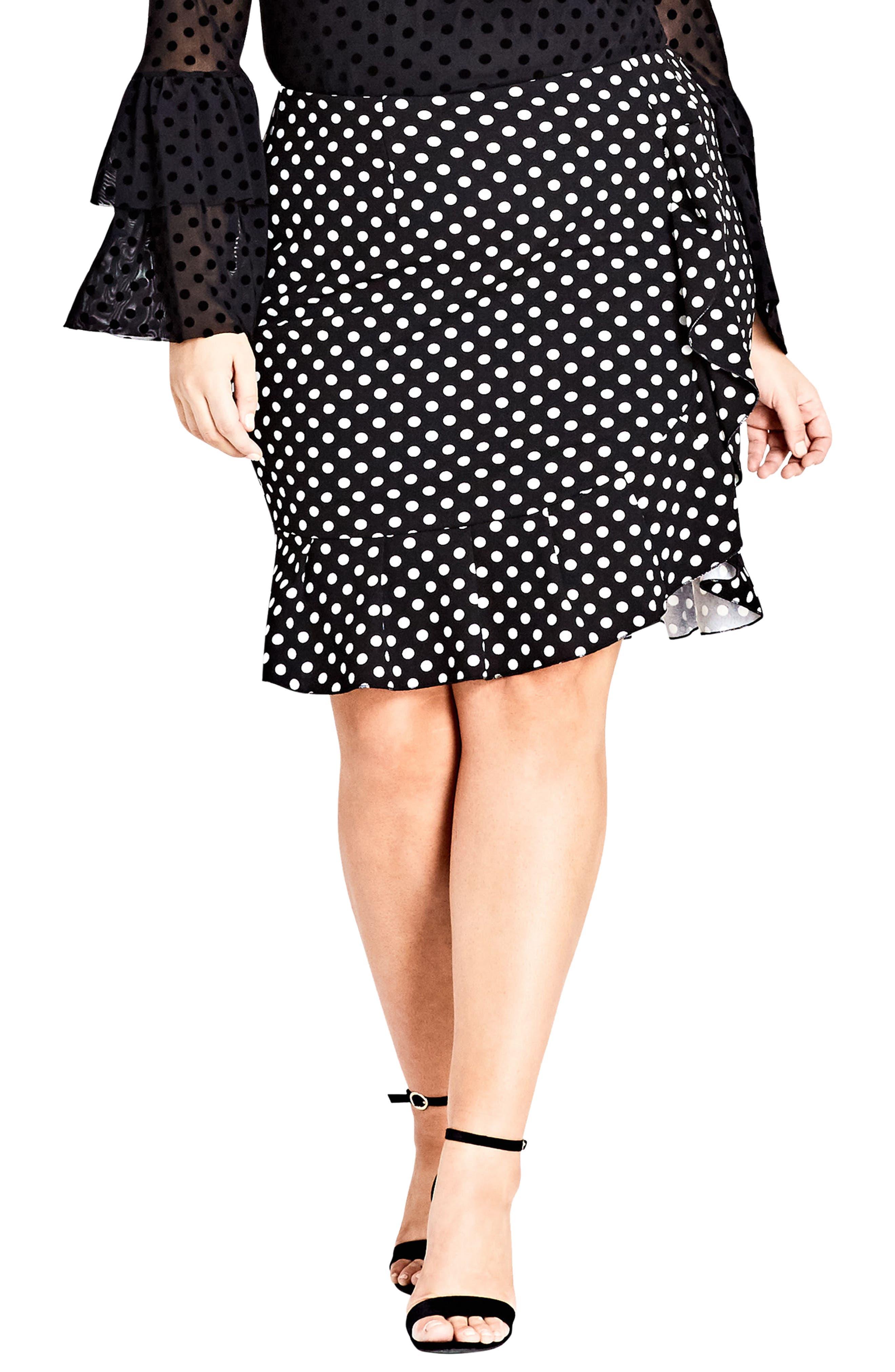 Plus Size City Chic Spot Frill Skirt, Black