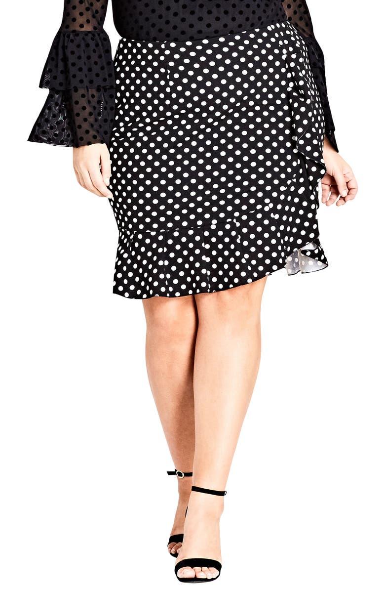 CITY CHIC Spot Frill Skirt, Main, color, BLACK SPOT