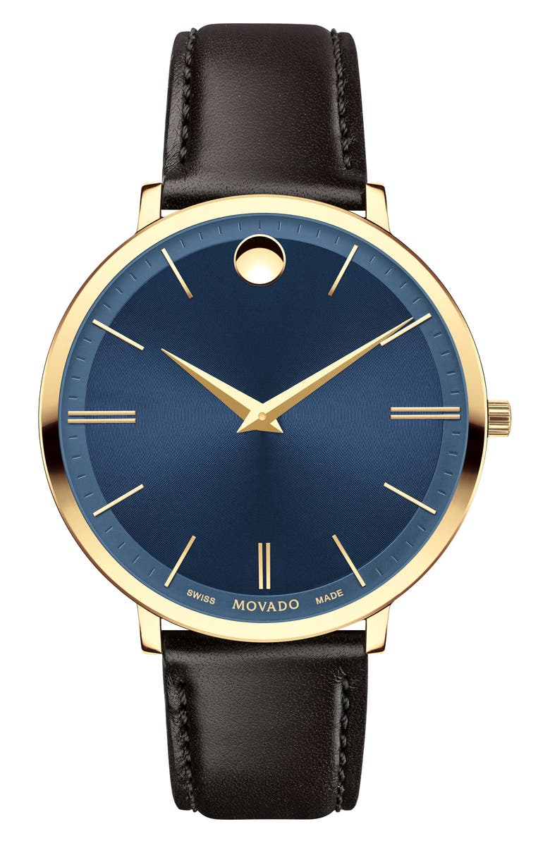 MOVADO Ultraslim Leather Strap Watch, 35mm, Main, color, BROWN/ BLUE/ GOLD