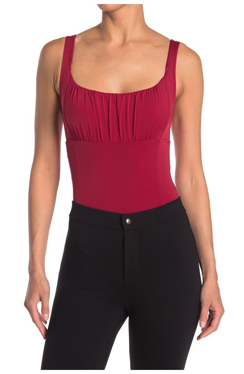 WAYF Ruched Bodice Sleeveless Bodysuit (Red)