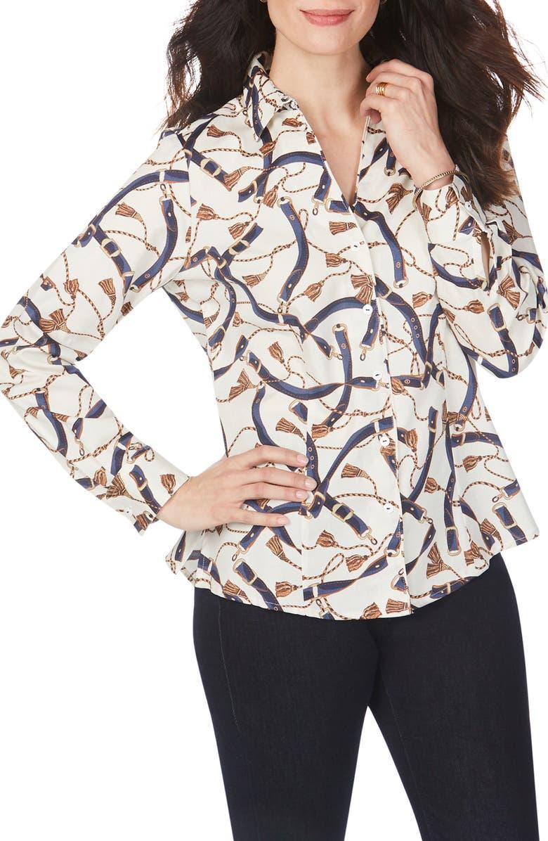 FOXCROFT Lauren Belts & Tassels Button-Up Top, Main, color, MULTI