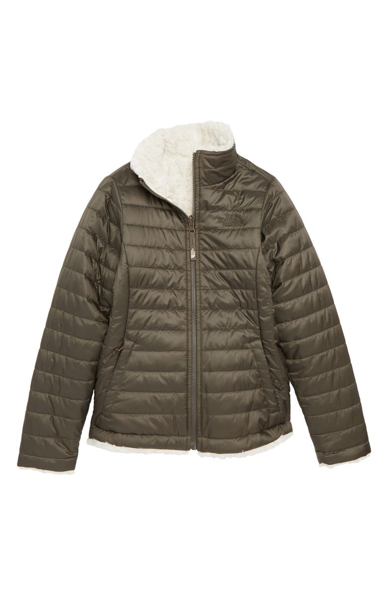 THE NORTH FACE Mossbud Swirl Reversible Water Repellent Jacket, Main, color, NEW TAUPE GREEN