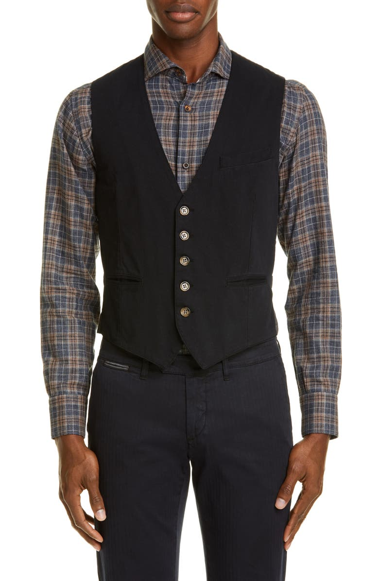 ELEVENTY Trim Fit Twill Cotton Vest, Main, color, NAVY