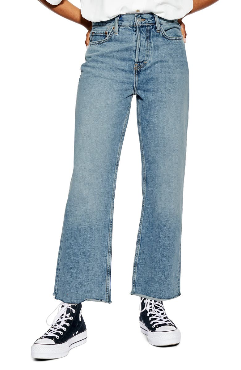 TOPSHOP High Waist Dad Jeans, Main, color, MID DENIM