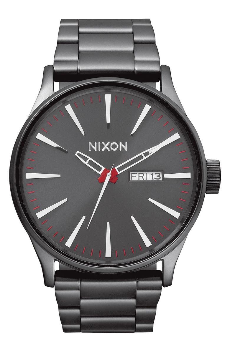 NIXON Sentry Bracelet Watch, 42mm, Main, color, GUNMETAL