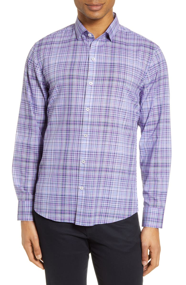 ZACHARY PRELL Classic Fit Plaid Button-Up Shirt, Main, color, PURPLE