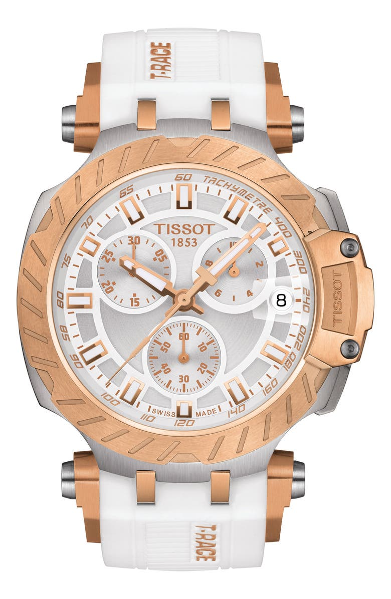 TISSOT T-Race Chronograph Silicone Strap Watch, 48mm, Main, color, WHITE