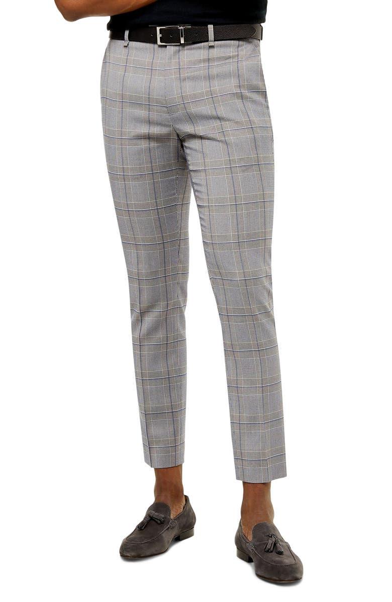 TOPMAN Bons Slim Fit Glen Plaid Cropped Pants, Main, color, GREY