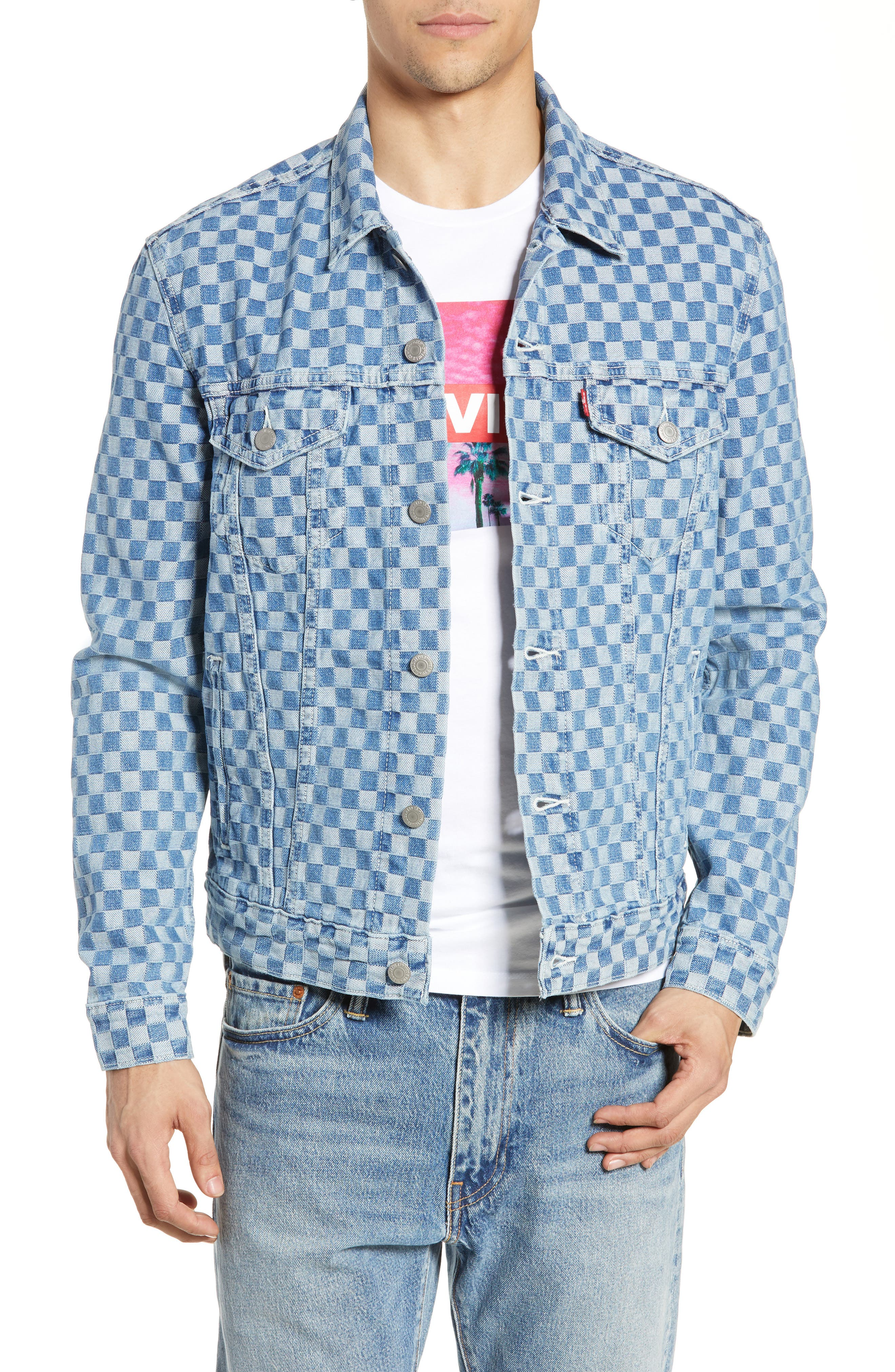 Checker Trucker Jacket, Main, color, CHECKMATE